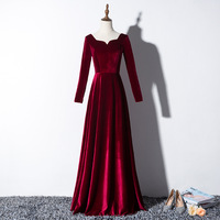Elegant Velvet Long Prom Evening Dresses 2019 Long Sleeves Wedding Formal party Gowns Lace Up Srobe de soiree