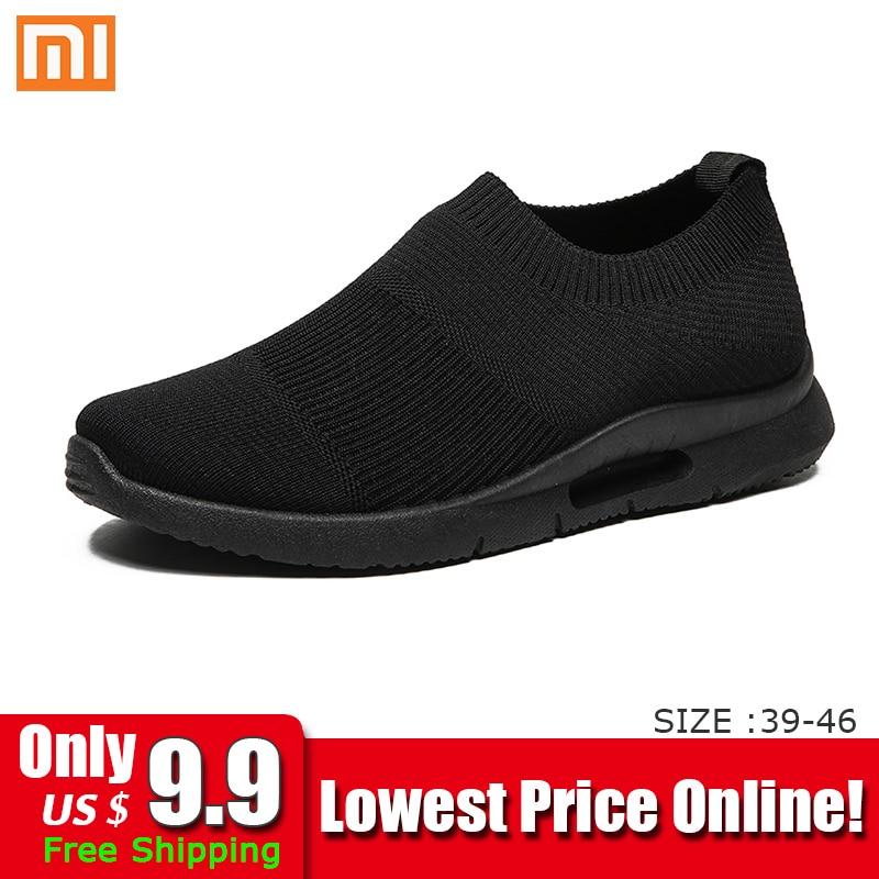 Xiaomi luz tênis de corrida sapatos de corrida respirável homem tênis deslizamento em mocassins sapatos casuais masculinos tamanho 46 dropshipping