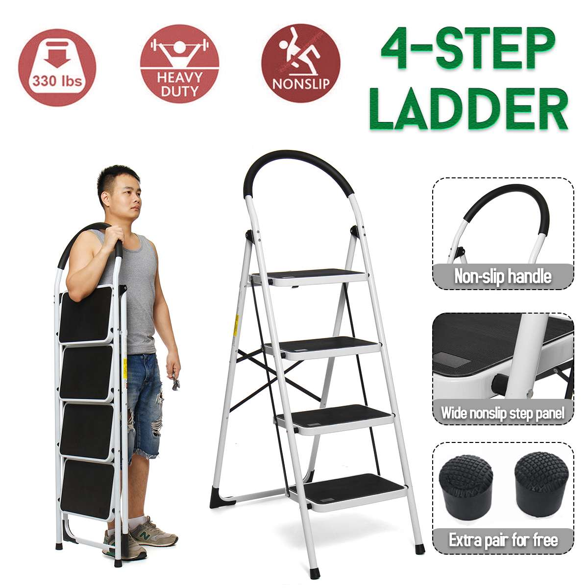 4 Step Folding Aluminium Ladder Multi-Purpose Extension Ladders Non-slip Handrail Work Platform Tool 330lb Capacity Tools