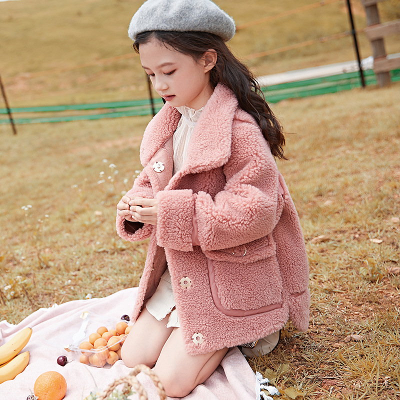 2019 Little girls 100% Wool coat Jackets Fur turn-down collar Princess girls Winter Coats Baby Girls Trench Full Sleeve Clothes