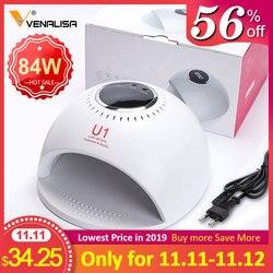 VENALISA U1 84 Вт быстрой сухой УФ светодиодный Автоматическая ногтей УФ лампа для ногтей, сушилка для маникюрного геля для ногтей, лампа для сушк...