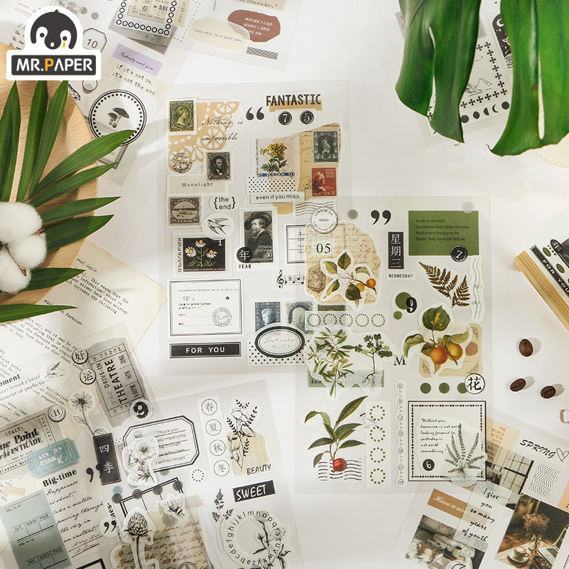Mr.Paper 8 Designs White Plants Washi Diary To Do List Season Decorative PET Sticker Scrapbooking Sticky Label Diary Stationery