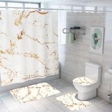 Новый Мрамор занавески с Шторы коврик Ванная комната комплект