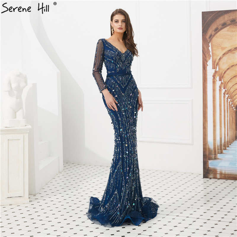 Navy Blue V-Neck Sexy Dubai Evening Dresses 2019 Long Sleeves Beads Sequins Mermaid Formal Gowns Serene Hill LA6010