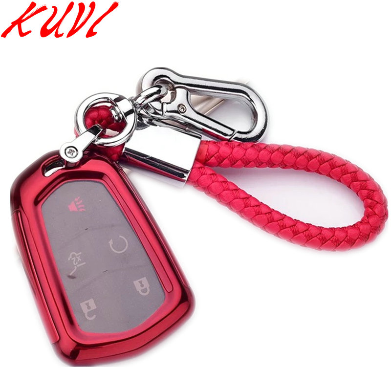 TPU Remote Smart Key Cover Fob Case Shell For Cadillac ATS CT6 CTS DTS XT5 Escalade ESV SRX STS XTS ELR 2014 2015 2016 2017 2018 in Key Case for Car from Automobiles Motorcycles