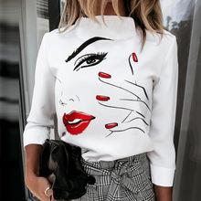 Женские Элегантные блузки с воротником стойкой рубашки пуловеры