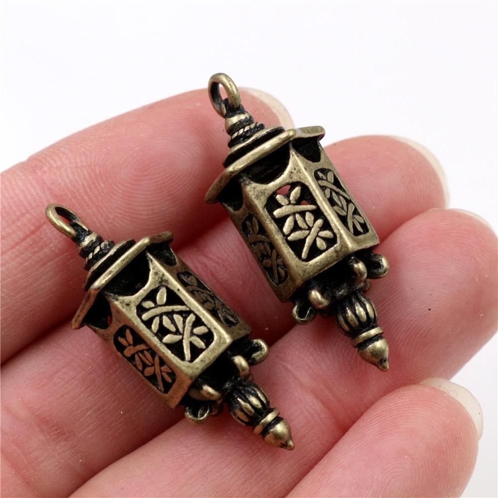 35x12mm 3pcs Antique Bronze Plated Lantern Handmade Charms Pendant:DIY For Bracelet Necklace-Q4-27