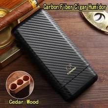 Cohiba fibra de carbono couro 3 tubo de madeira charuto caso de viagem humidor cedro madeira charuto titular