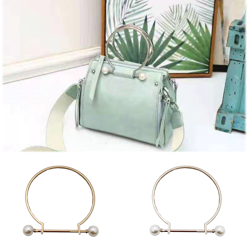 1 Pcs Imitate Pearl Metal Bag Handle Replacement For DIY Making Purse Handbag Tote Round  Shaped