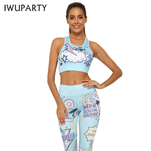 Image 2 - IWUPARTY 2 Piece Cute Pink Printing Yoga Set Women Workout Gym Outfit Sets Sport Fitness Crop Top Leggings Running Ladies Suit