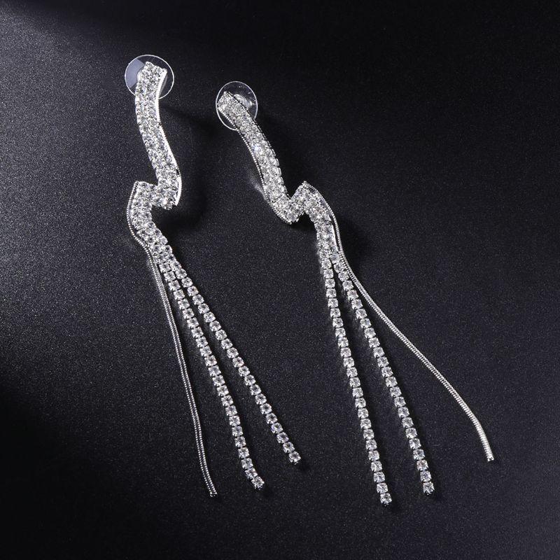 Tassel Earrings Women Jewelry Rhinestone Luxury Long Drop Wedding Fashion Fringe 19QC
