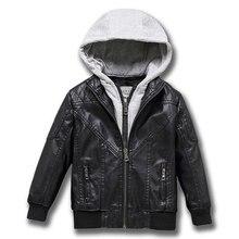 Primavera meninos jaqueta pode destacada capa de couro inverno quente criança casaco engrossar couro do plutônio crianças casuais roupas outerwear 4-13y