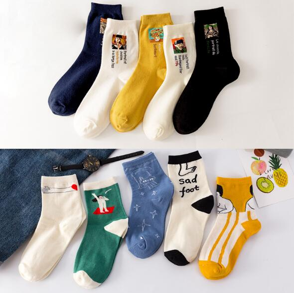 Casual Women Cotton Socks Painting Vintage Abstract Art Patterned Socks For Women Ankle Solid Summer Winter Sox K2710