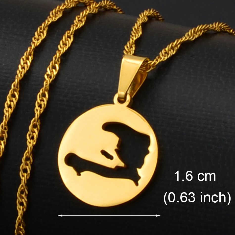 Anniyo Haiti mapy wisiorek naszyjniki dla kobiet mężczyzn dziewczyny haitańska mapa biżuteria #133821