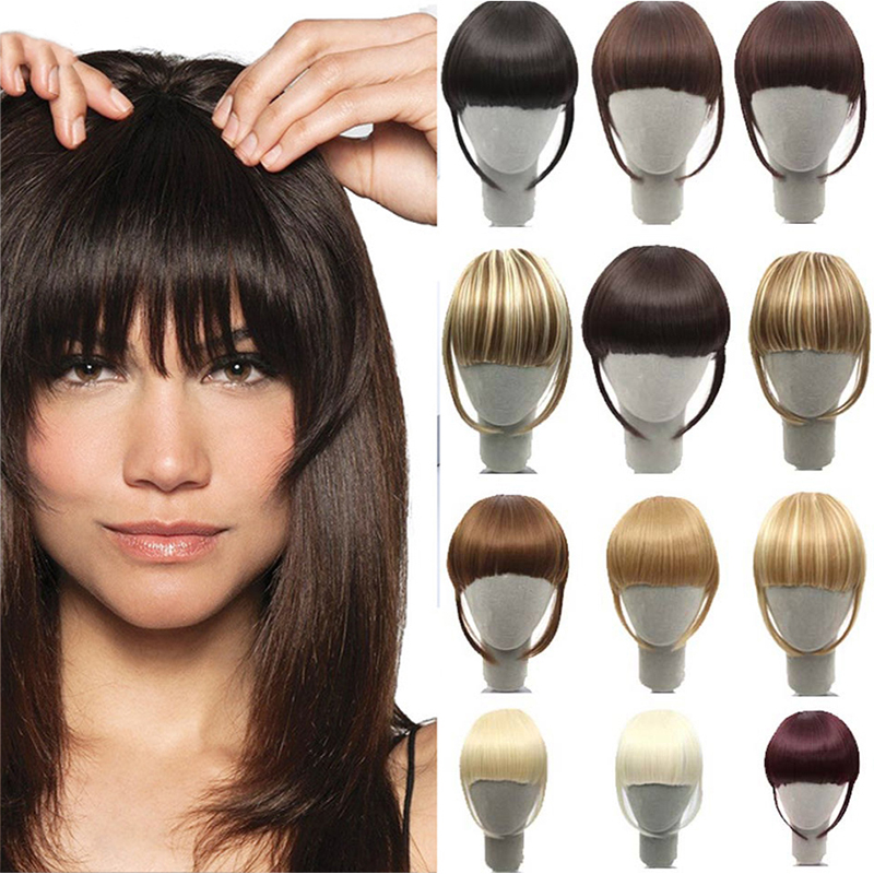 HOUYAN Natural Bangs Clip-In Dark Light Brown Black Synthetic False Hair Fringe Pure Colors 8