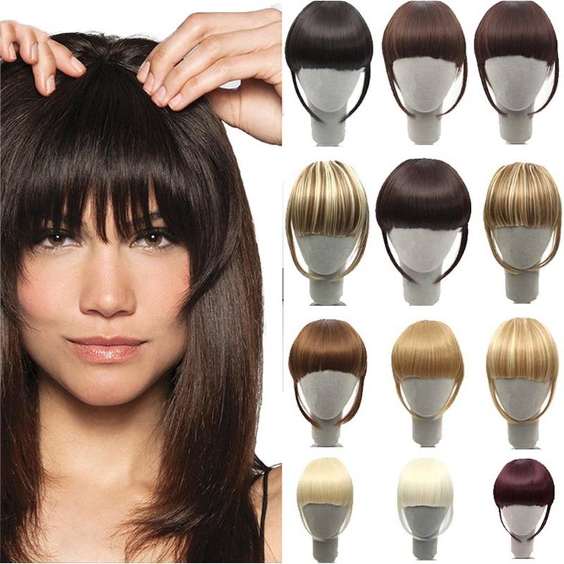 HOUYAN Natural Bangs Clip-In Dark Light Brown Black Synthetic False Hair Fringe Pure Colors 8