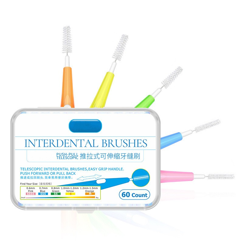 60pcs 0.6-1.5mm Interdental brush cleaning between teeth oral care toothpick dental tool floss orthodontic I shape tooth brush