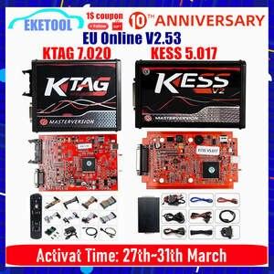 Программатор KESS V5.017 V2 KTAG V7.020 V2.25, 4 светодиода, без маркера, OBD2, 7,020, KESS V2, ECU
