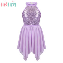 iiniim Kids Girls Halter Neck Sequined Ballet Dance Gymnastics Leotard with Irregular Hem Chiffon Skirt Children's Outfit Set(China)