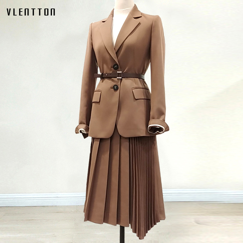 Spring Autumn Vintage Blazers And Jacket Women Sashes Solid Suit Coats Female Single Breasted Black Office Blazer Outwear Mujer