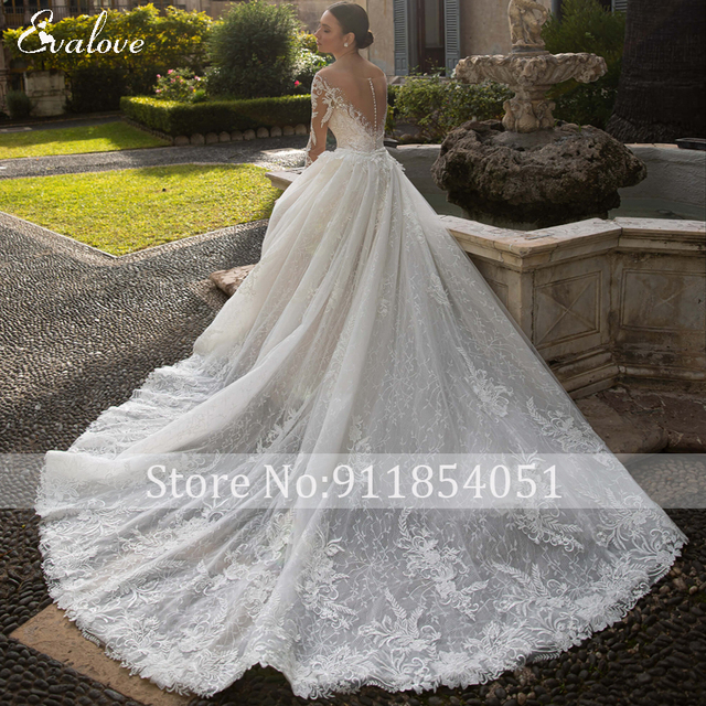 EVALOVE Glamorous Lace Appliques Detachable Train Mermaid Wedding Dress Luxury Scoop Neck Beaded Long Sleeve Trumpet Bridal Gown 2