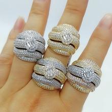GODKI anneaux de déclaration en gras pour femmes, bijoux de luxe, bijoux pour fêtes de fiançailles de haute qualité, avec pierres en zircone, collection 2020