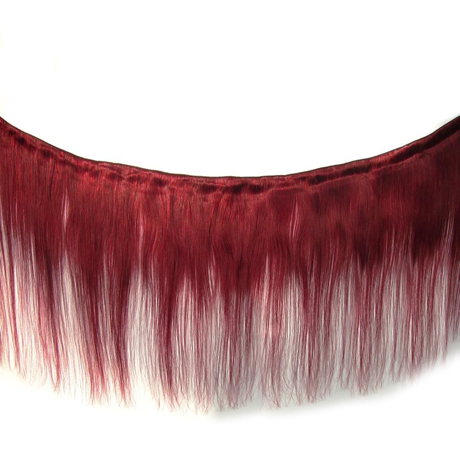 VIOLET Straight Medium Ratio 8-24 Inch Non-Remy Peruvian Ombre Red Hair Bundles T1B/Burgundy 100% Human Hair Extension Dark Root
