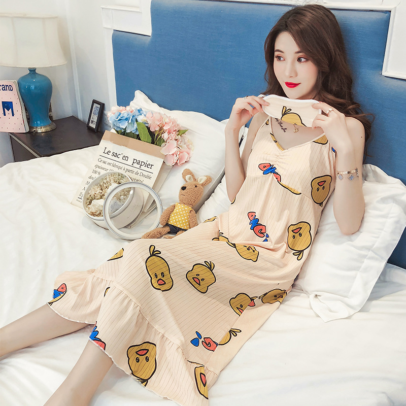 Nightgown Women's Summer Camisole-Small Yellow Duck With Chest Pad Pajamas Korean-style Students Long Loose Thin Home Wear