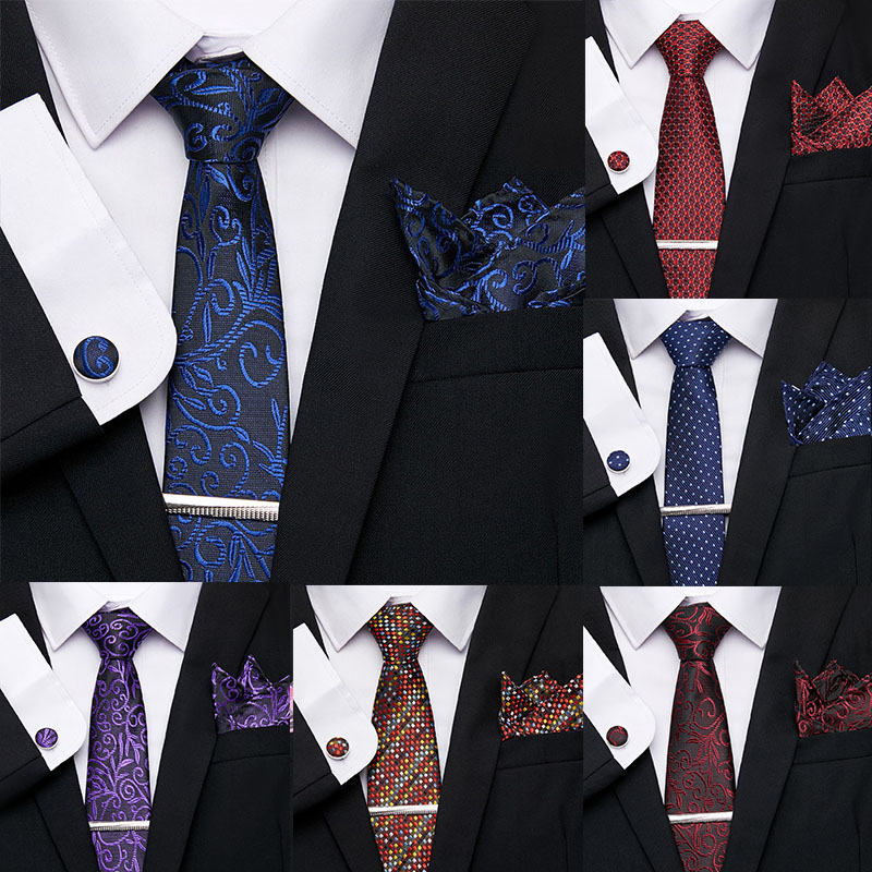 Luxury Men Ties Set Extra Long Size 145cm*7.5cm Necktie Blue Print Tie Clip Cuffink Handkerchief Tie Set Wedding Men Classic Tie