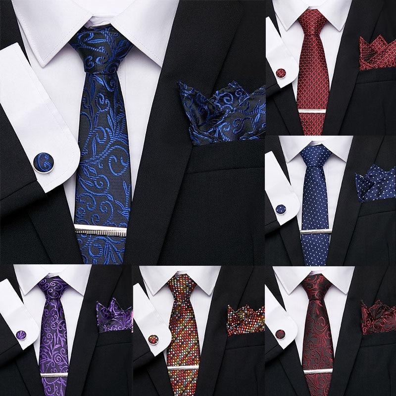 Luxury Men Ties Set Extra Long Size 145cm*7.5cm Necktie Blue Print Tie Clip Cuffink Handkerchief Tie Set Wedding Men Classic Tie