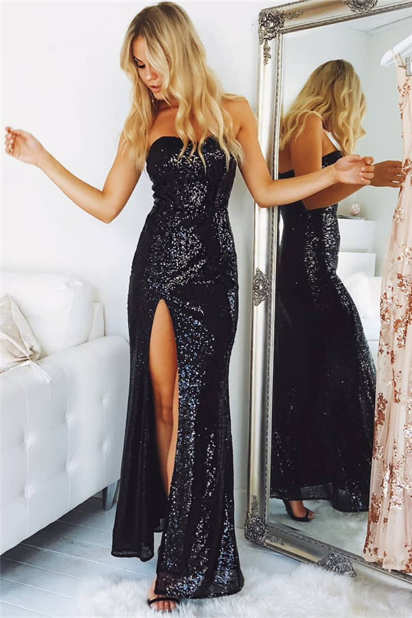 Black   Prom     Dress   2019 Mermaid Sweetheart Sequins Sparkle Slit Sexy Long   Prom   Gown Evening   Dresses   Robe De Soiree