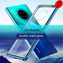 Double Side 360 Degree Magnetic Adsorption Glass Case For Huawei P30 P40 P20 Lite Pro For Honor 30 20 9X Nova 6 7 SE Case Cover