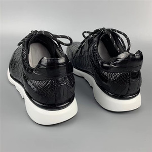 Image 5 - Authentic Crocodile Belly Skin Male Casual Black Sneakers Real Alligator Leather High Quality Soft Rubble Sole Men Lace up Shoe