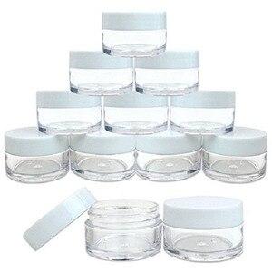 Image 1 - 50 sztuk 2g/3g/5g/10g/15g/20g plastikowe przezroczyste pojemniki na kosmetyki pojemnik biały pokrywka balsam w butelce fiolki krem do twarzy próbki garnki żelowe pudełka