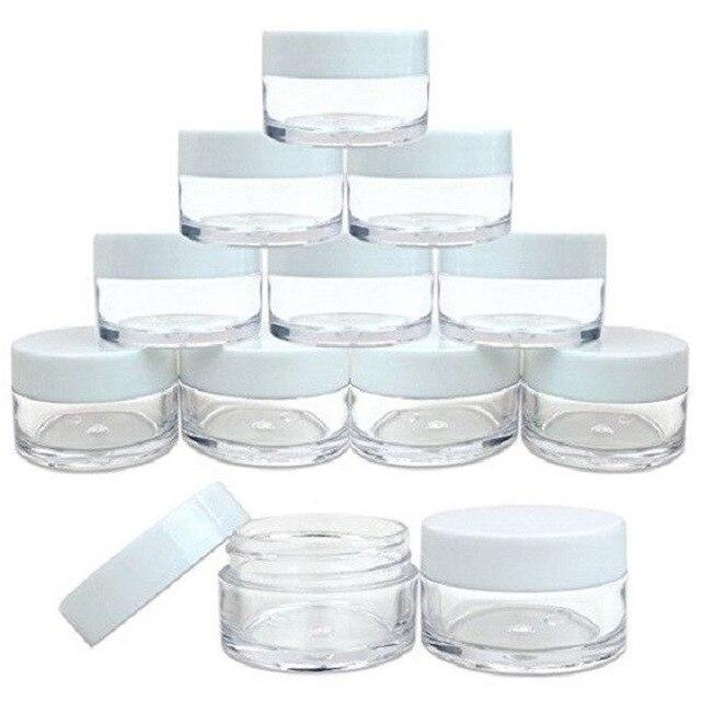 50 sztuk 2g/3g/5g/10g/15g/20g plastikowe przezroczyste pojemniki na kosmetyki pojemnik biały pokrywka balsam w butelce fiolki krem do twarzy próbki garnki żelowe pudełka