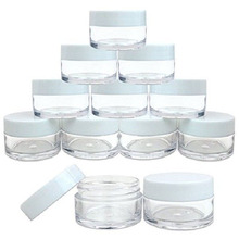 50pcs 2g/3g/5g/10g/15g/20g Plastic Clear Cosmetic Jars Container White lid Lotion Bottle Vials Face Cream Sample Pots Gel Boxes