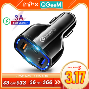 Image 1 - QGEEM QC 3.0 USB C Car Charger 3 Ports Quick Charge 3.0 Fast Charger for Car Phone Charging Adapter for iPhone Xiaomi Mi 9 Redmi