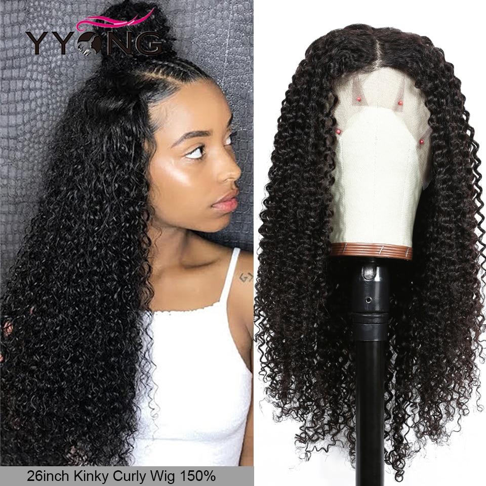 Yyong 13x4 Brazilian Kinky Curly Human Hair Wigs Lace Front Human Hair Wig Remy Lace Front Wigs For Women 30 32in Low Ratio 120