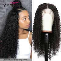 Yyong 1x6 malla con división y 13x4 pelucas de cabello humano rizado brasileño con encaje frontal, peluca de cabello humano Remy con encaje frontal para mujer 30 32in
