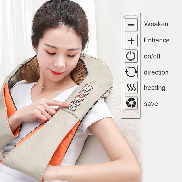 U Type Electrical Car/Home Massage Shiatsu Back Shoulder Neck Massager Multifunctional Shawl Infrared Heated Kneading Massager 4