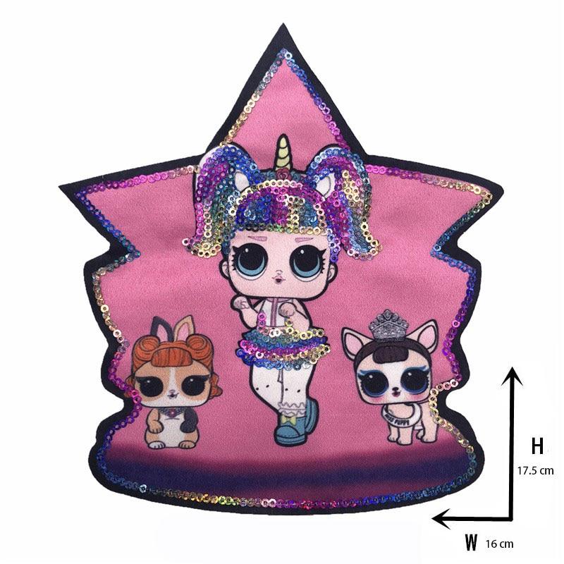 Мультяшные нашивки женские модные куклы лол для девочек Милая Модная Кукла-мальчик вышивка на одежду ручная работа украшение одежды Блестки Ткань - Цвет: new Xx-2