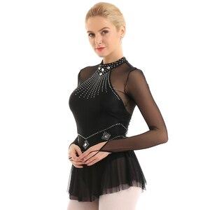 Image 2 - TiaoBug מבריק Rhinestones ארוך שרוול רשת אחוי בלט התעמלות בגד גוף נשים איור החלקה שמלת ביצועי ריקוד תלבושות