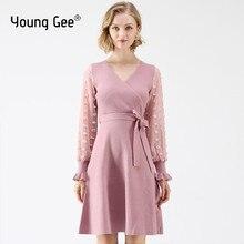 Junge Gee Frauen Gestrickte Kleid Herbst Strickwaren Gürtel Laterne Hülse 2019 Mode Elegante Rosa Schwarz V-ausschnitt Party Kleider Robe Feme