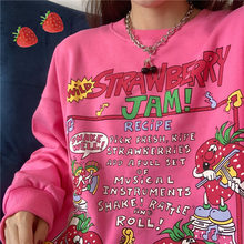 2021 nova harajuku retro topo impressão morango hoodie feminino solto streetwear moletom americano retro oversized pulôver