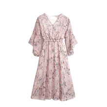 2019 Summer Dress New Korean Ladies Tunic Fashion V-neck Fairy Dresses Women Vestidos Floral Elastic Waist Chiffon Sweet