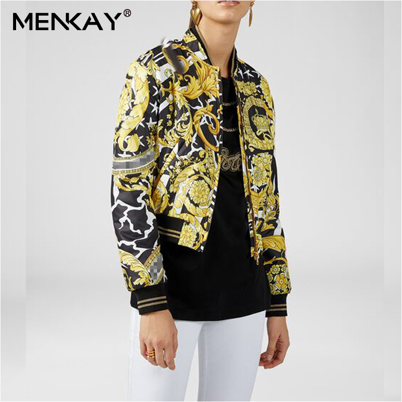 [MENKAY] Streetwear imprimé col montant à manches longues fermeture à glissière Bomber veste femmes automne mode manteau nouveau
