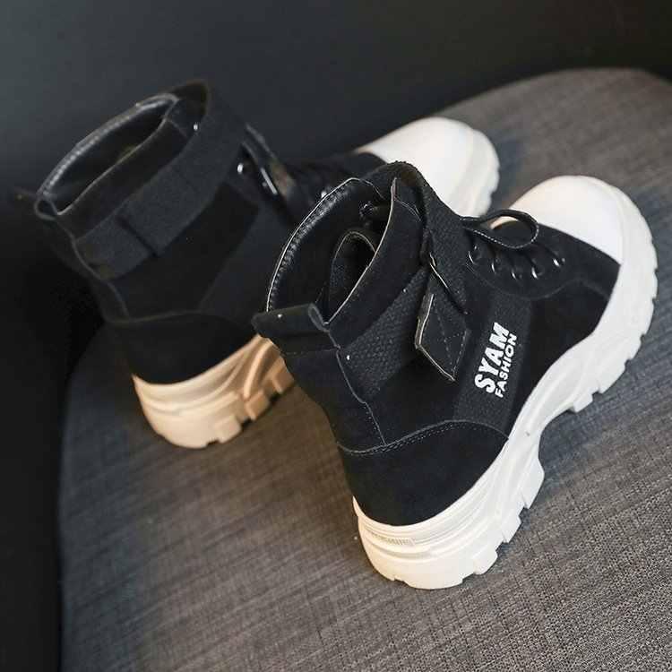 2019 sonbahar kış yeni bayan Martin çizmeler İngiliz rüzgar vahşi rahat kalın taban siyah motosiklet çizme öğrenciler retro kısa çizmeler