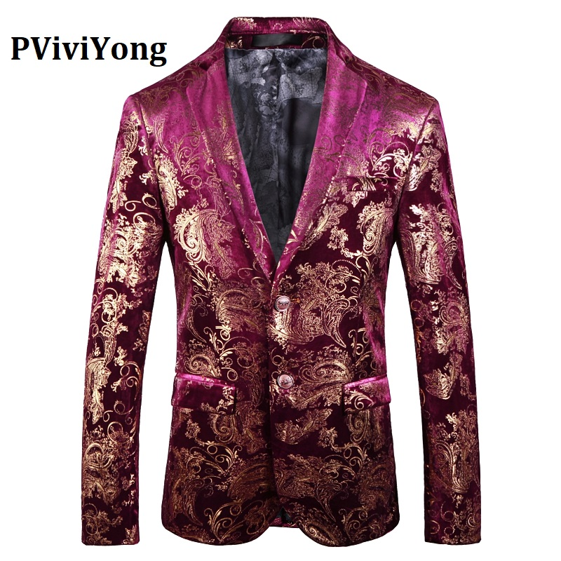 PViviYong Brand 2019 High Quality Suits Blazers European Style Red Gold Suit Jacket Men Slim Fit Men's Suit Top 7771