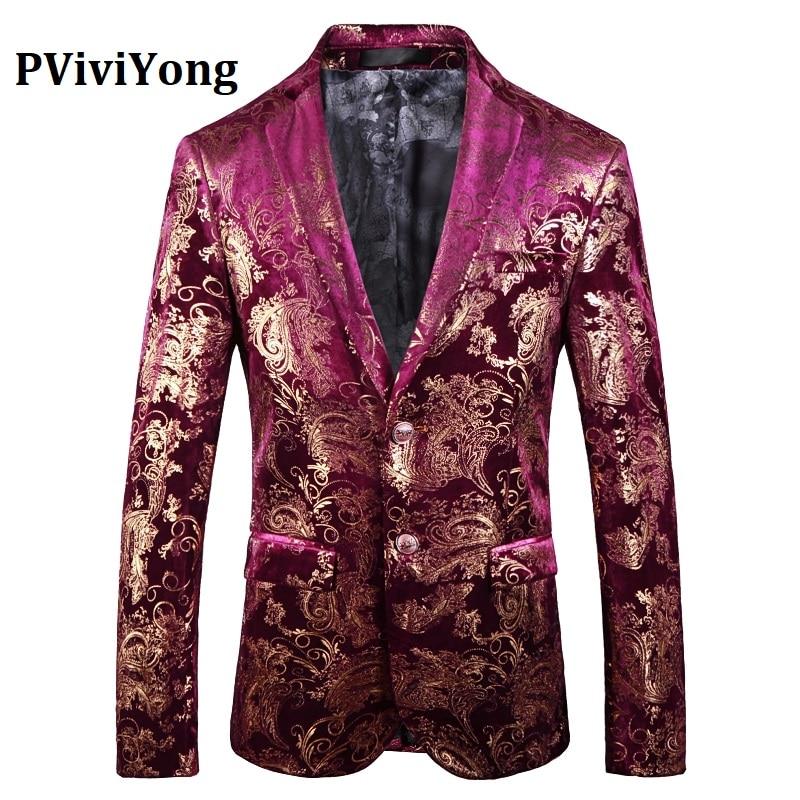 PViviYong Brand 2019 High Quality Suits Blazers European Style Red Gold Suit Jacket Men Slim Fit Men's Suit Top 7771