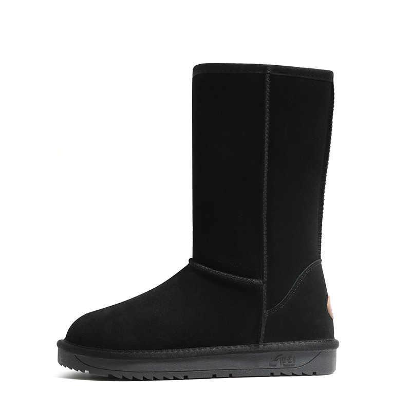 Sepatu Wanita 2019 Sepatu Bot Salju Musim Dingin Kulit Kulit Sapi Platform Tebal Mewah Bulu Hangat Tahan Air Anti Slip Sepatu Karet Sepatu Wanita